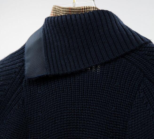 Bleu Hiver Irrégulière De Revers 2018 Femme Longues Outwear Manteau Point Tricot Femmes Plaid Lâche Élégant Manches Foncé Marine Automne Veste Yxw5Bqw1