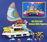 01038 Friends Lepin Sunshine Catamaran Dolphins Olivia Stephanie Girl Building Block Compatible 41317 Brick Toy
