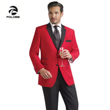FOLOBE Custom Made Red Men Slim Fits Suits 3 PCS Tuxedos Grooms Suits Wedding Suits Formal Party Suits