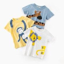 Kids Cotton Cartoon Printing T-shirt Baby Boys and Girls Short-Sleeved Animals Cute Cartoon Clothes 2019 Summer New Fashion Tops стоимость