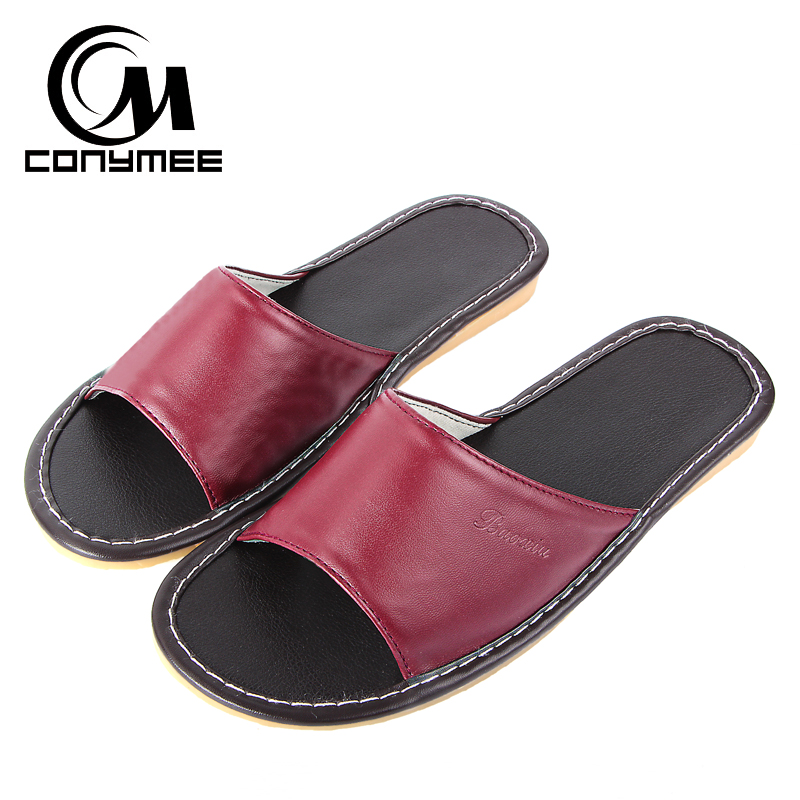 CONYMEE Home Slippers Summer 2018 Leather Shoes Sandals Woman Beach Slipper Non-slip Sexy Flip Flops Men Women Leather Sneakers conymee jd xtw home slippers