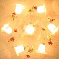 גן אירופאי אמריקאי ברזל פרח סגנון סלון תקרת מנורת ורוד פרח רומנטי חתונה חדר-בתאורת תקרה מתוך פנסים ותאורה באתר