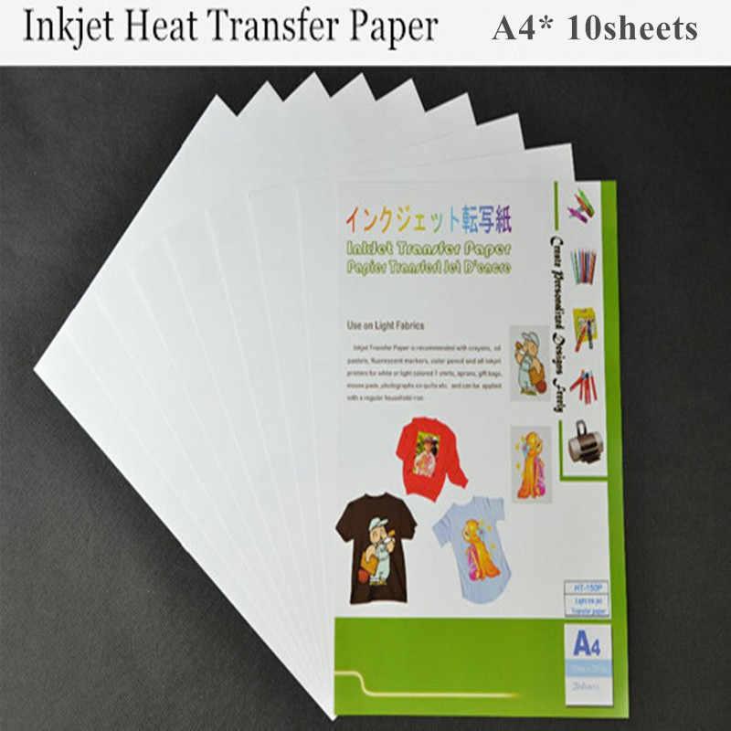 (A4*10 قطعة) النافثة للحبر الحرارة ورق الطباعة الناقل ضوء لون النسيج نقل ورقة للملابس القطن الحرارية نقل ورقة Papel