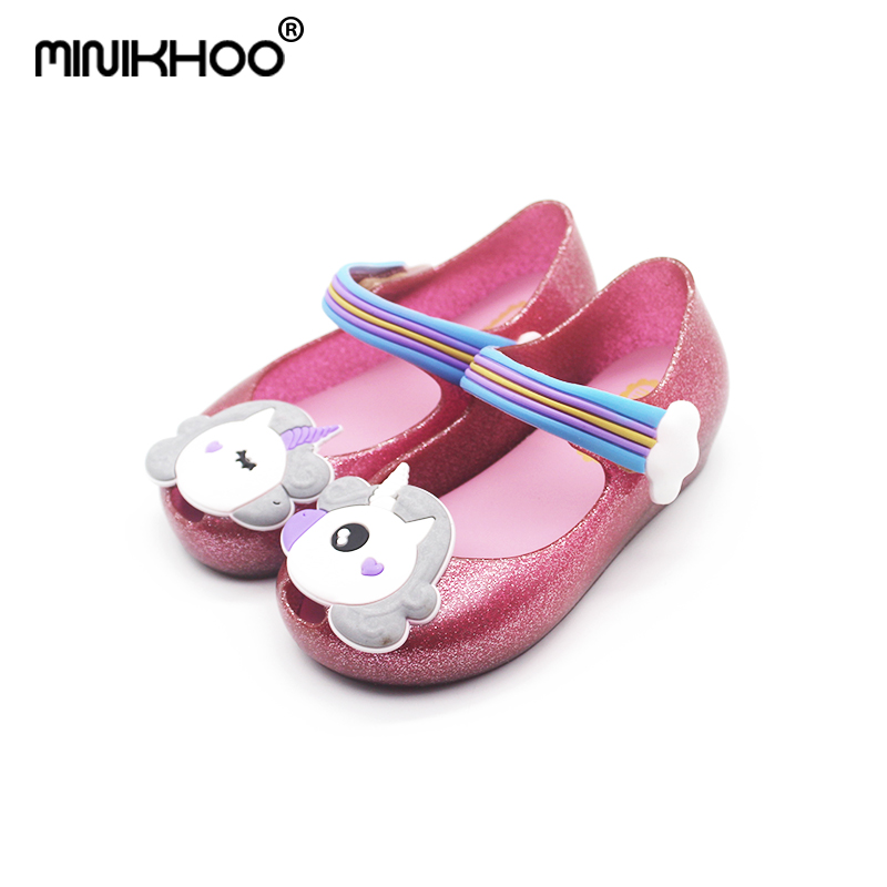 Mini Melissa 2018 New Original 4 Color Unicorn Fragrance Girls Jelly Sandals Children Shoes Baby Princess Shoes Melissa Sandals