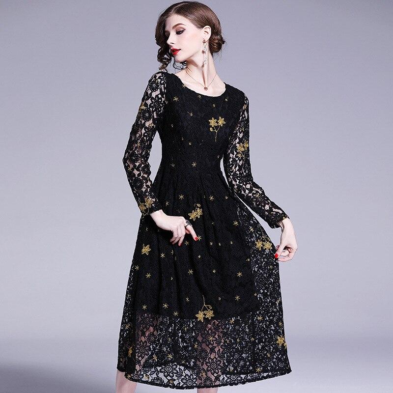 Robe longue Zanzea grande taille Printemps Nouveau Type De Lumière Et Mature Vent à col haut à manches longues robe brodée 99109