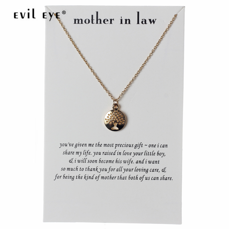 Evil Eye Mother In Law Wish Card Charms Choker Necklace Pendant Gold Sliver  Link For Love Mom Girls Best Gift CN81