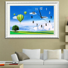Diy Diamond Painting Clock Embroidered  landscape balloon Elk Bedroom Sticker Cross Stitch Wall