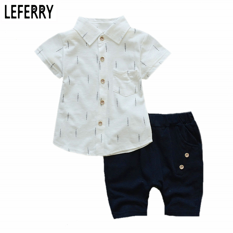 1-4Y 2017 New Fashion Kids Clothes Boys Summer Set Print Shirt Short Pants Baby Boy Clothing Set Toddler Boy Summer Clothes Set