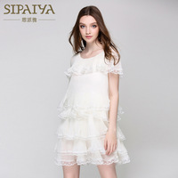 High Quality Brand Elegant Summer Women Dress Chiffon Cascading Ruffles Dresses Cute Sweet Princess Style For