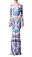2016 nowa wiosna Duże Europejskie i Amerykańskie druku sukienka Czechy elastycznej dzianiny Dekolt elegancka sukienka