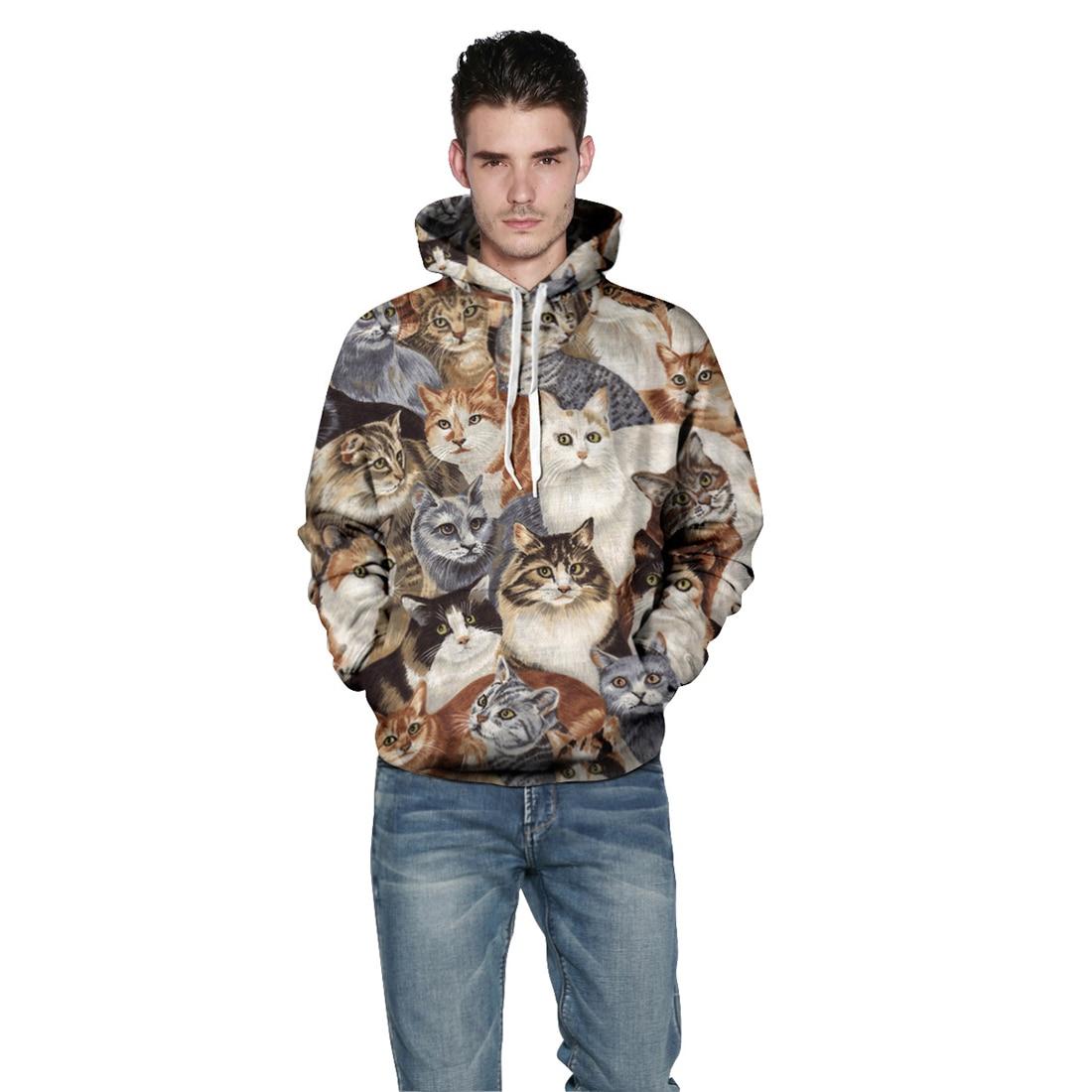 Men/Women New Fashion Cap Hoodies Sweatshirts Casual 3d Cats Print Hoodies Hooded lovely Tracksuit Hoody