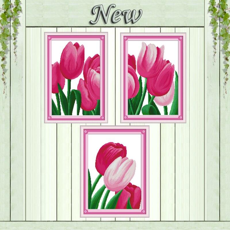 ⑧çiçeklenme çiçekler Pembe Lale Sayılan Güzel Boyama Baskı Tuval
