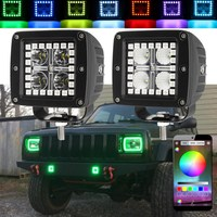 2pcs Set 12W 3 Inch LED Work Light RGB Angel Eye Spot Flood Driving Work Light