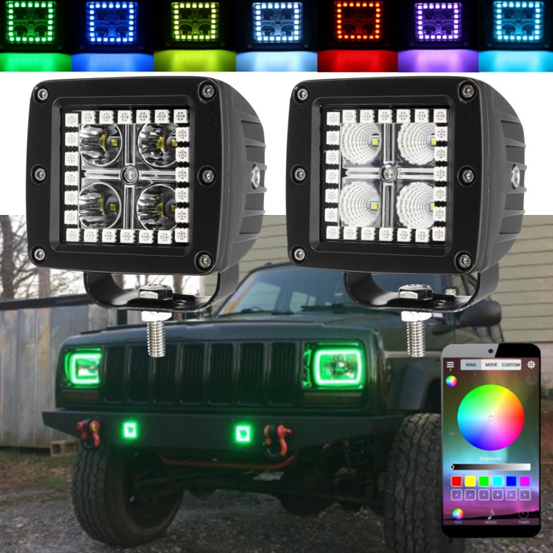 2pcs/set 12W 3 Inch LED Work Light RGB Angel Eye Spot/Flood Driving Work Light Bar APP Remote Control For Jeep SUV Offroad Car free shipping face makeup