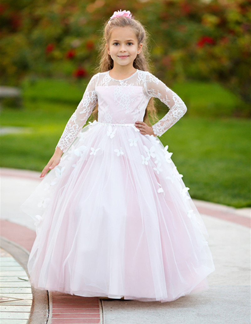 Newest   Flower     Girl     Dress   with Handmade Butterflies Crystals   Girls   Pageant Gown Customized For Princess Vestidos de Fiesta Longo