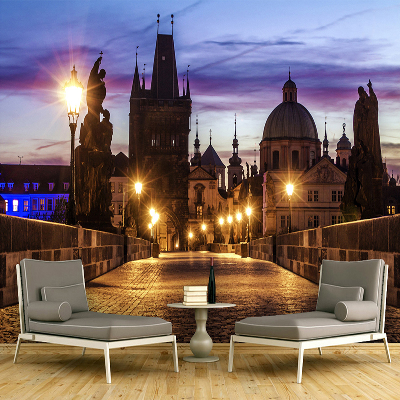 custom wall mural wallpaper for walls 3d poster city night view large murals wallpaper living. Black Bedroom Furniture Sets. Home Design Ideas