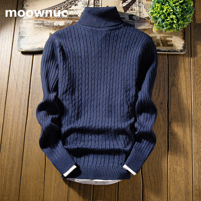 2018 Spring And Autumn High Turtleneck Sweaters Mens  Casual Slim Fit Winter Pullover Men's Trend Knitted Sweater Men