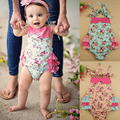 baby Flower Romper printed floral ruffled backless Romper girl rompers infant sleeveless JumpSuit jumper