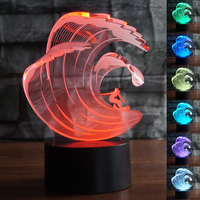 Girl surfing 7 Changing Colors 3d illusion night lamp