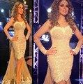 2017 Free Shipping Myriam fares Haleema  Sheath Full Pearls Long sleeve Floor Length Celebrity dress Custom Made