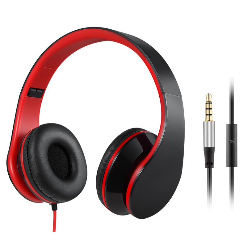 3.5mm Wired Headphone 3.5mm Stereo Headset Foldable With Microphone Headband Earphone Big Auriculares For iPhone Samsung Compute
