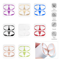 1 Set Ultra Thin Skin Protective Cover For Apple Airpods Metal Film Sticker Iron Shavings Dust Guard For Airpod Earphones(China)