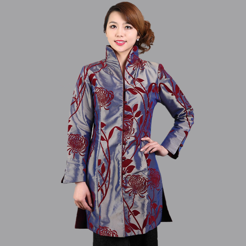 Nueva vendimia de la llegada mujeres chinas de manga larga de la Chaqueta abrigo