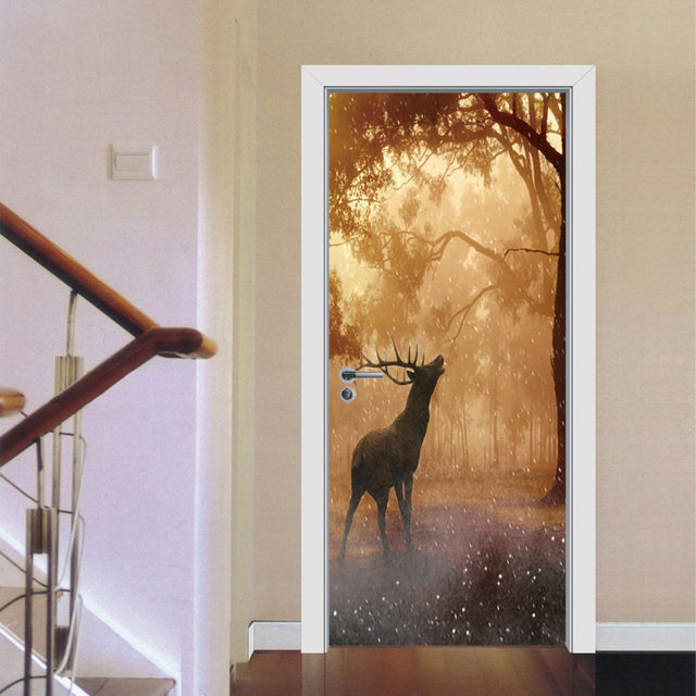 Yazi HD Print Self Adhesive 3D Door Sticker PVC Wall Stickers Vinyl Decal  Mural Wallpaper Gate
