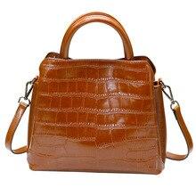 Elegant and new leisure women leather handbags Large capacity crocodile vertical portrait Genuine Leather shoulder bag