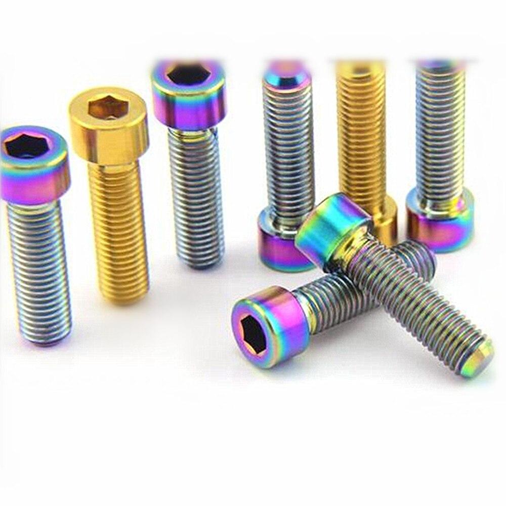 4/6 pcs M7 x 25mm Titanium Bolt For Ride Screw Column Head Ti Color Gold and Multocolor Grade 5 TC4 Ti Screws Ti Fastener