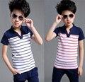 Diseño de marca de manga corta de algodón personalizada el principito cuello en v profundo traje a rayas de la camiseta de verano del muchacho tops voguish