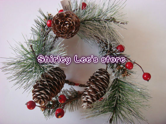 500pcs x christmas candle ring w berries needle pine and pine cones in 4 colors free shipping in artificial dried flowers from home garden on - Decorative Christmas Candle Rings
