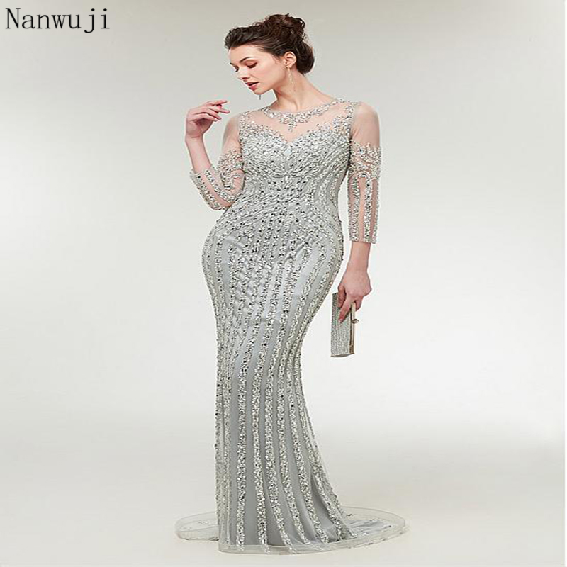 Fast Shipping in Stock Gray Long Mermaid   Evening     Dresses   with Long Sleeve beaded Plus Size Women Party Sparkly   Evening   Gown