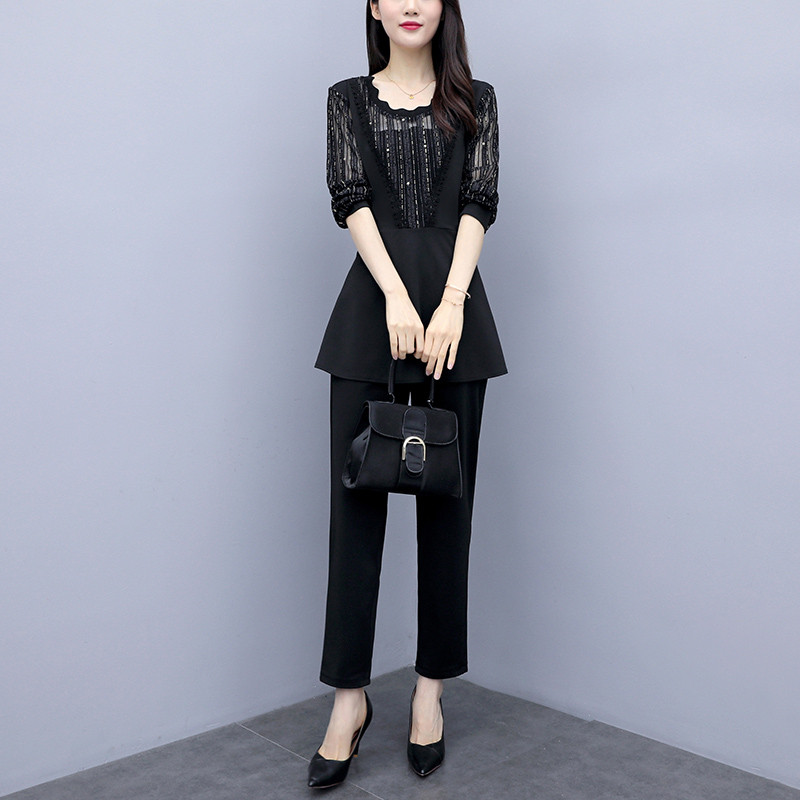 Plus Size Autumn Black Two Piece Sets Outfits Women Long Fake Two Pieces Tops And Pants Suit Elegant Korean Ol Style 2 Piece Set 28
