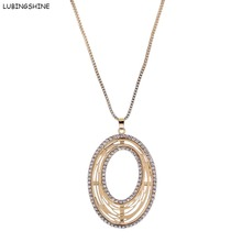 LUBINGSHINE Top Quantily Geometric Necklace Hollow Out Oval Big Gold Color Pendants Necklaces Sweater Jewelry Chain Women
