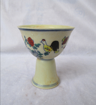 Taza de porcelana de la dinastía Ming de la Antigüedad China Chenghua/cuenco de cerámica de pollo de pintura clásica
