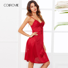 COLROVIE Lace Panel Cami Sleep Dress 2018 New Summer Spaghetti Strap Sexy Nightwear Red Sleeveless Plain Satin Home Night Dress