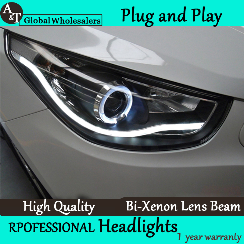 Car Styling for 2011-2014 Hyundai IX35 Headlight assembly New Tuscon LED DRL Lens Double Beam H7 with hid kit 2 pcs. hireno headlamp for 2009 2011 hyundai genesis coupe headlight assembly led drl angel lens double beam hid xenon 2pcs