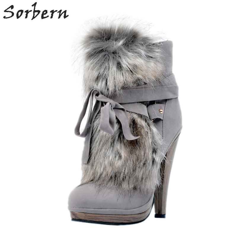 Fashion Gray Women Boots Winter Women Shoes Size 12 Heels 2018 New Arrive Party Boots Plus Size 34-48 Ankle Boots For Women new arrive women