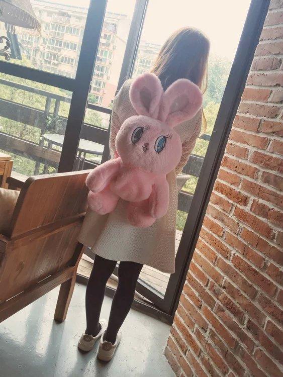 Candice Guo! Super Cute Plush Toy Soft Big Eyes Ears Wego Rabbit Fluffy Bunny Toy Doll Backpack Girls Birthday Christmas Gift 1p