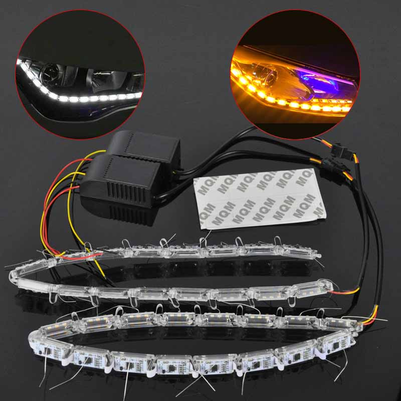 1 Pair Car Flexible Switchback LED Rider Strip Light for Headlight Sequential Flasher DRL Flowing White/Amber Turn Signal Lights 1 pair car led lights 12 24v drl head lights 8w turn light strip