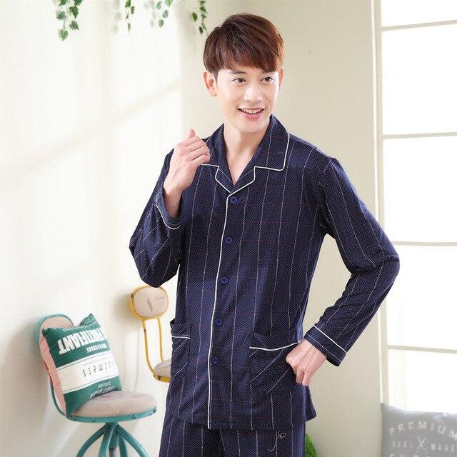 065696a88419 Spring autumn Men long-sleeve Pajamas Set 100% Cotton Sleepwear Lounge Clothes  Long sleeve lapel