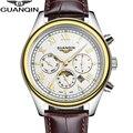 2015 Новое Прибытие мужская Золотые Часы Мода & Casual Кожаный Ремешок Moon Phase Бизнес Мужчины Кварцевые Часы Часы reloj hombre