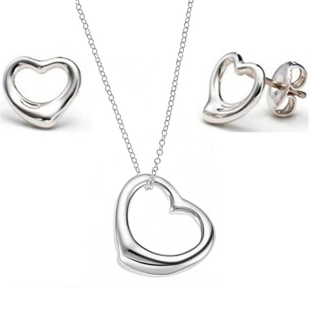 OPK JEWELRY SET  925 sterling silver earring necklace crystal pendants SILVER JEWELLERY SETS free shipping
