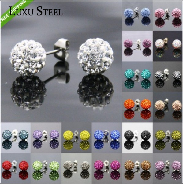 LUXUSTEEL 6mm Shamballa Beads Stud Earrings 10 Pairs Per Set Disco Ball Shaped with White Black Purple Green Crystal  Studded