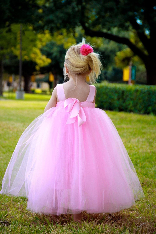 Rosa claro de la princesa vestidos con floristas bautizo cumpleaños ...