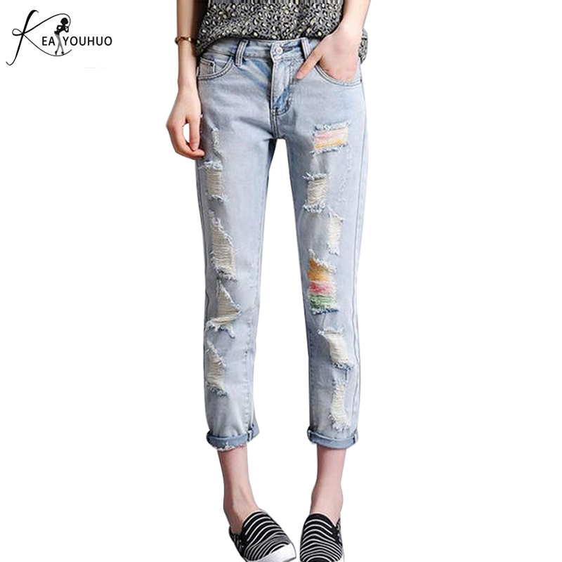 High Waist Ripped Jeans for Women Holes Jean Boyfriend Femme 2017 New Denim Pencil Pants Casual Ladies Trousers Plus Size L-5XL casual vintage ripped denim jumpsuits suspender trousers high waist ladies winter long pants blue boyfriend jeans for women