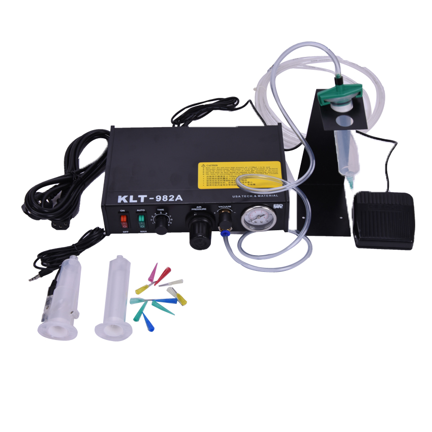 ФОТО Automated Glue Dispenser Solder Paste Liquid Semi Automatic Dispensing Machine Controller Dropper KLT-982A 110v220V