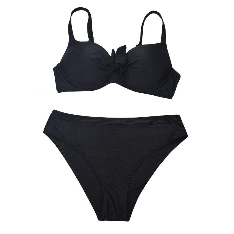 Essv черный купальник пуш ап с бантом комплект бикини размера