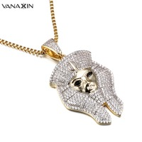 VANAXIN Egyptian Pharaoh Necklaces Micro Paved AAA Cubic Zirconia Fashion Jewelry Men Classic Ancient Egypt Jewels Gold Color